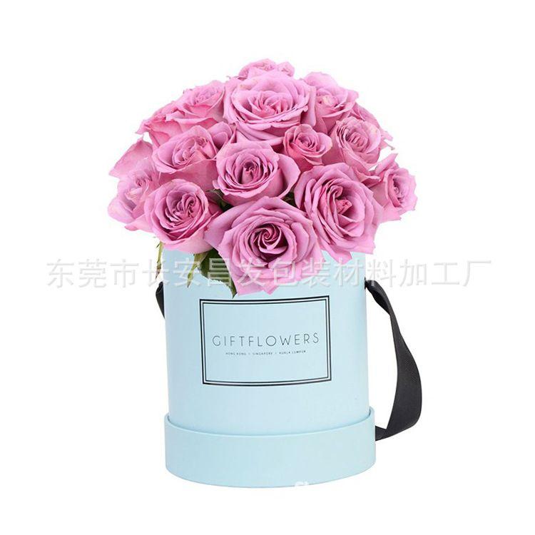 鲜花花束包装礼物盒精美圆形花盒永生花抱抱桶盒子鲜花纸质收纳盒