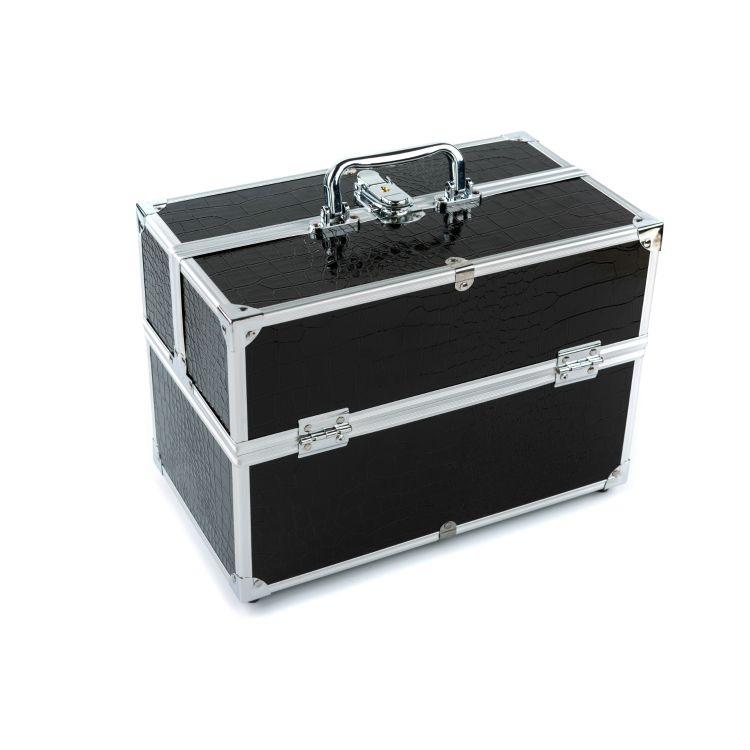 厂家供应1232#黑色化妆箱 家用化妆箱 收纳箱 铝箱
