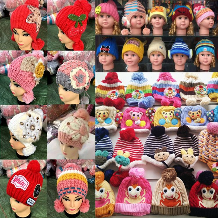 秋冬帽子 毛线帽子 杂款双层儿童卡通针织帽 地摊货源 厂家批发
