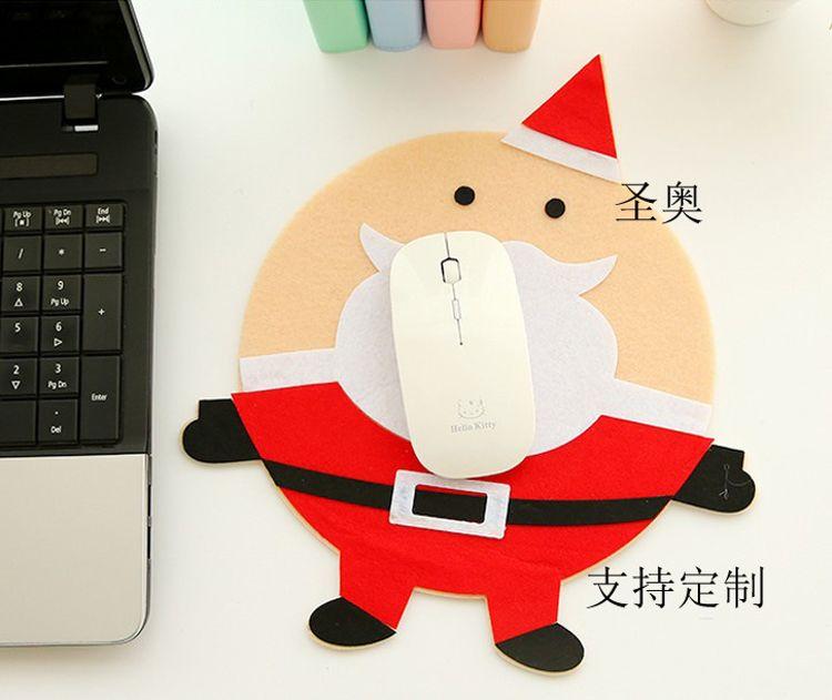 创意毛毡圣诞鼠标垫办公学习游戏防滑桌垫可爱卡通护腕垫键盘垫