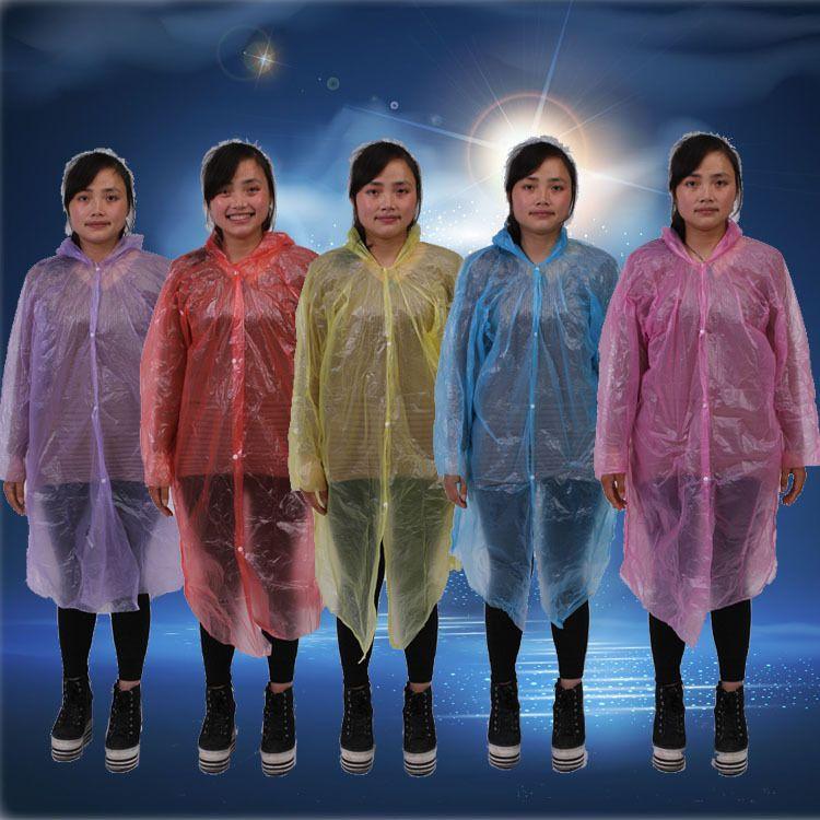 户外旅游一次性雨衣  男女通用前开带扣式防水雨衣