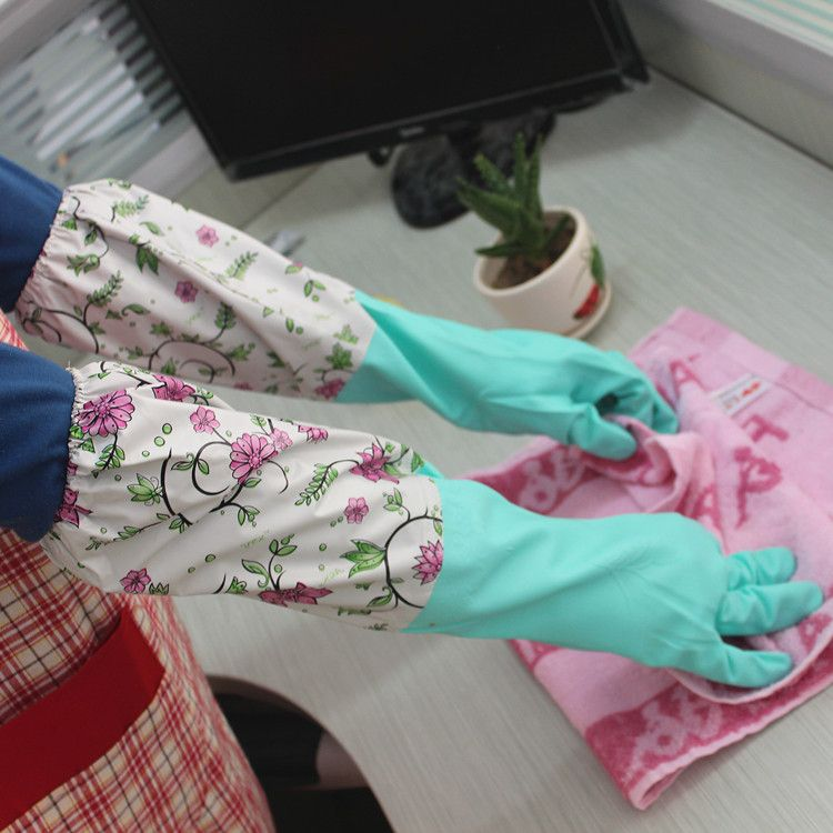 工厂直销保暖乳胶加绒家用手套 洗碗防护手套 加长清洁手套