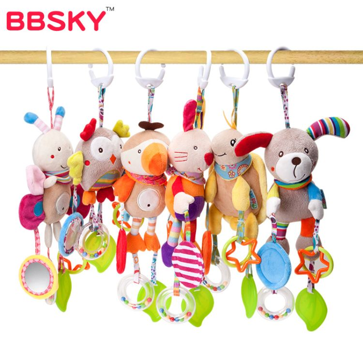BBSKY卡通动物款风铃小狗玩具婴儿宝宝带牙胶床挂车挂批发