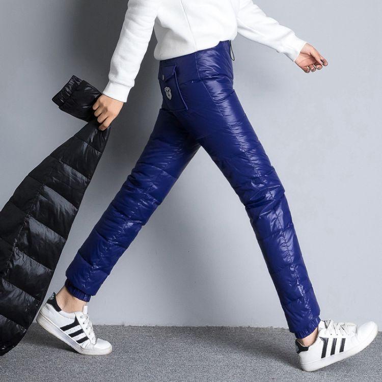 实拍冬装新款户外休闲羽绒裤女外穿小脚加厚显瘦大码保暖羽绒棉裤