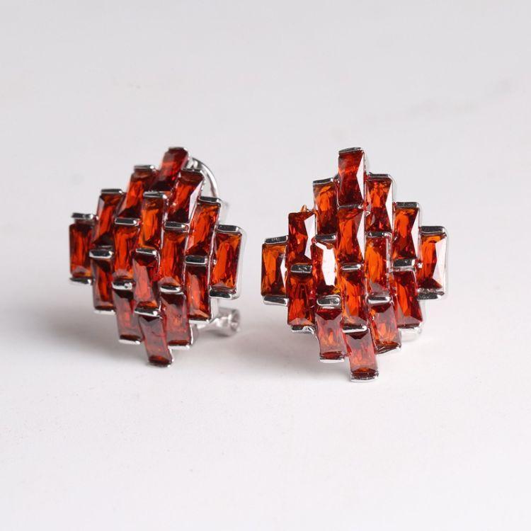 S925纯银耳环女复古镶红石榴黑玛瑙简约气质耳夹新品礼物特惠批发