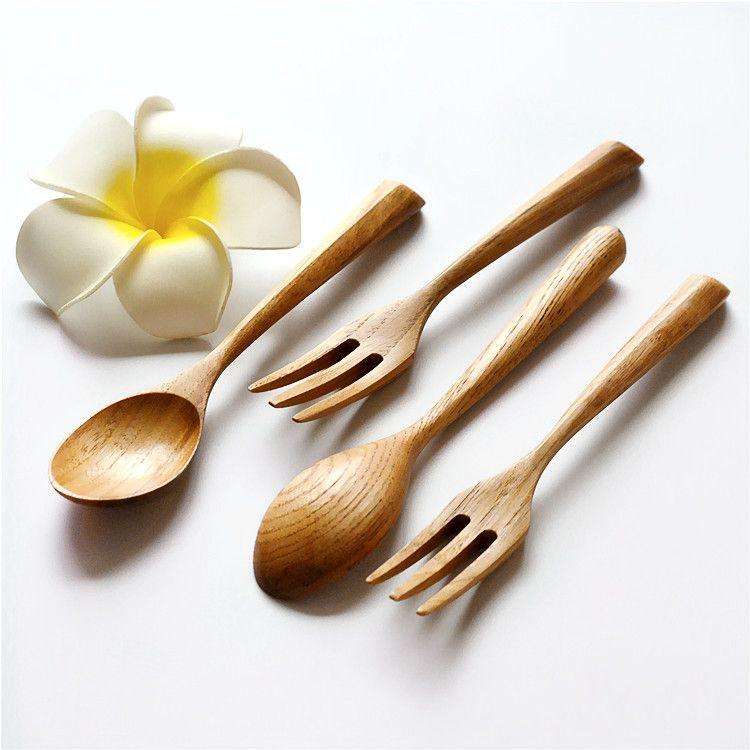 新品上架 原木创意三角手柄勺叉套装 环保栗木