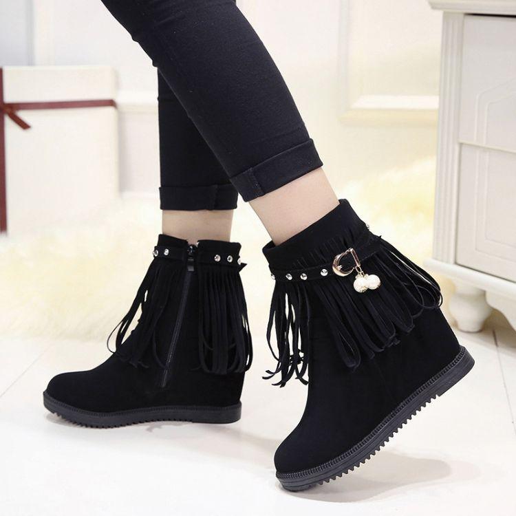 2017秋冬季短靴女鞋流苏拉链平跟内增高学生加绒保暖短筒棉鞋女靴