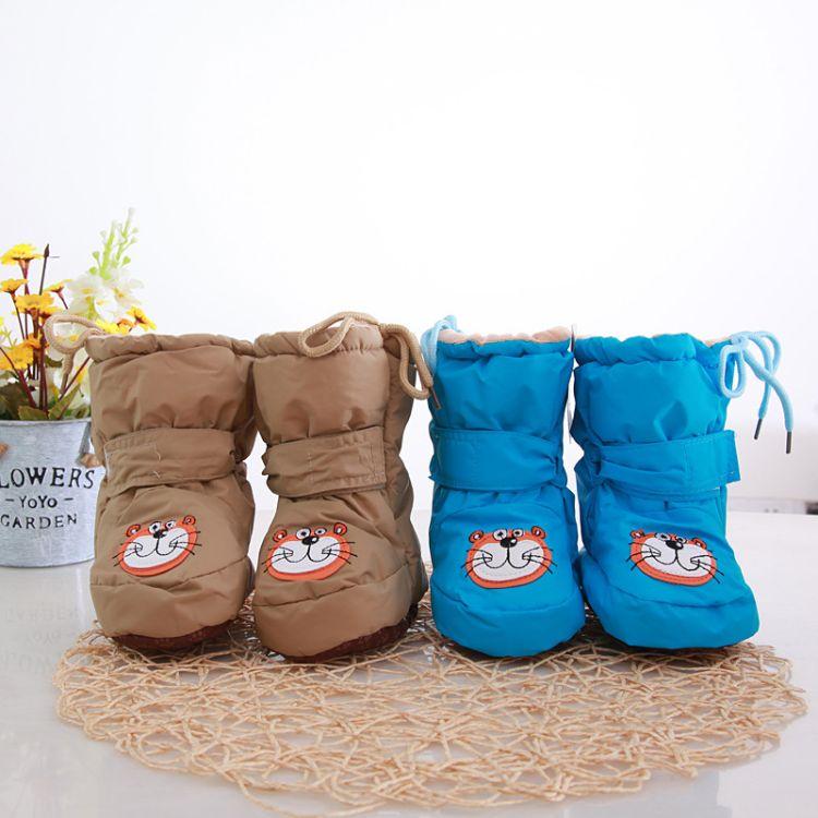 2018新款秋冬婴儿棉鞋 加厚宝宝软底学步鞋 羽布高帮儿童搭扣鞋子