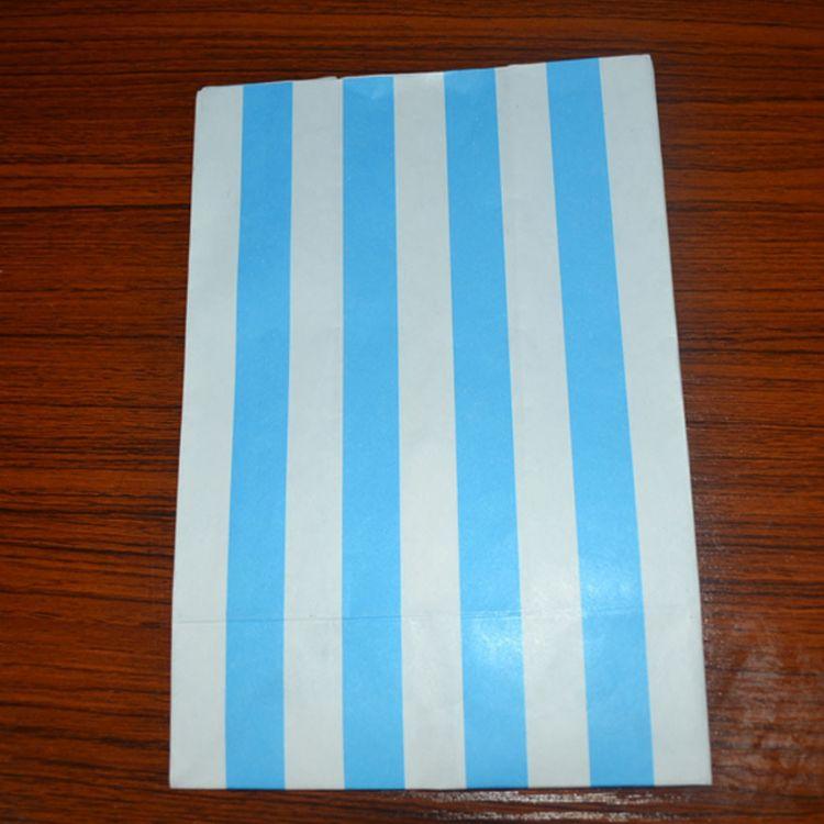 食品袋 蓝色条纹 方底食品纸袋 支持小批量定做