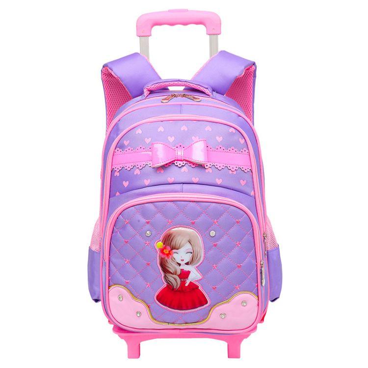 新款韩版儿童拉杆书包小学生可拆卸二轮拉杆背包防水时尚双肩包