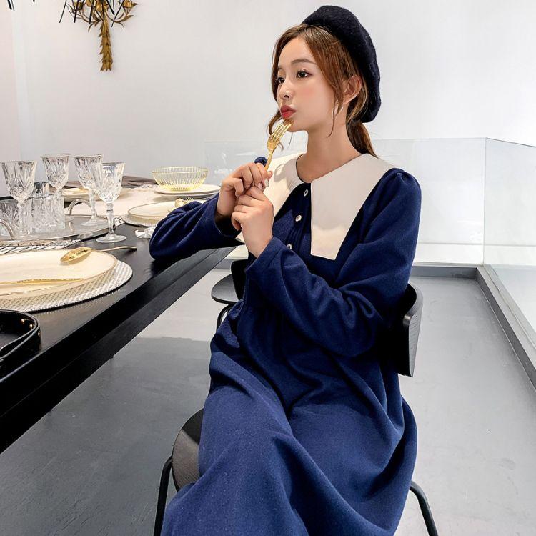 大码女装连衣裙毛呢显瘦藏青色1902