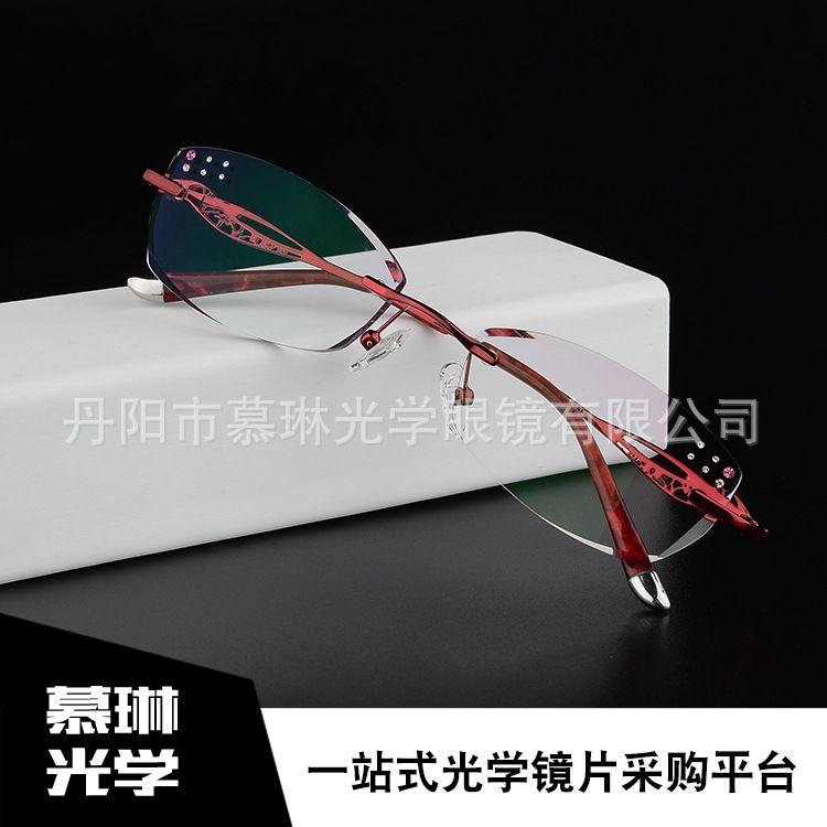 超轻新款无螺丝八孔眼镜框无框钻石切边慕琳光学眼镜批发