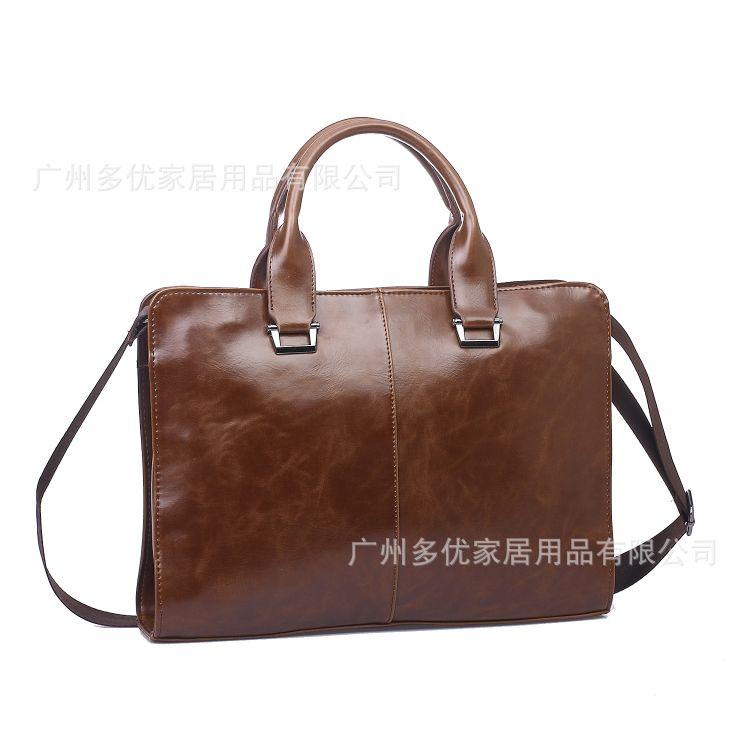 新款男士手提包横款公文包商务手提包,疯马PU高档手袋