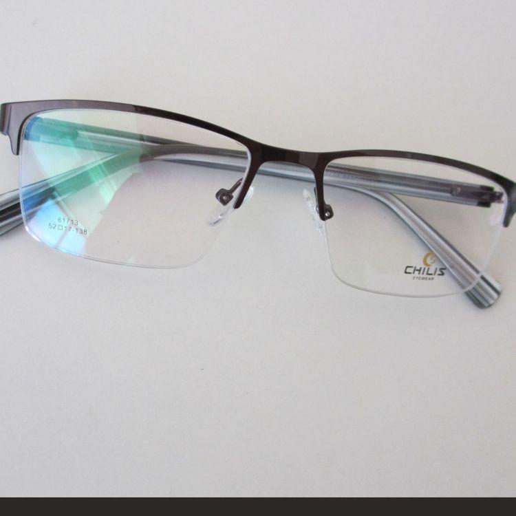 金属眼镜框 近视镜树脂镜腿设计 半框框型镜架 流行时尚