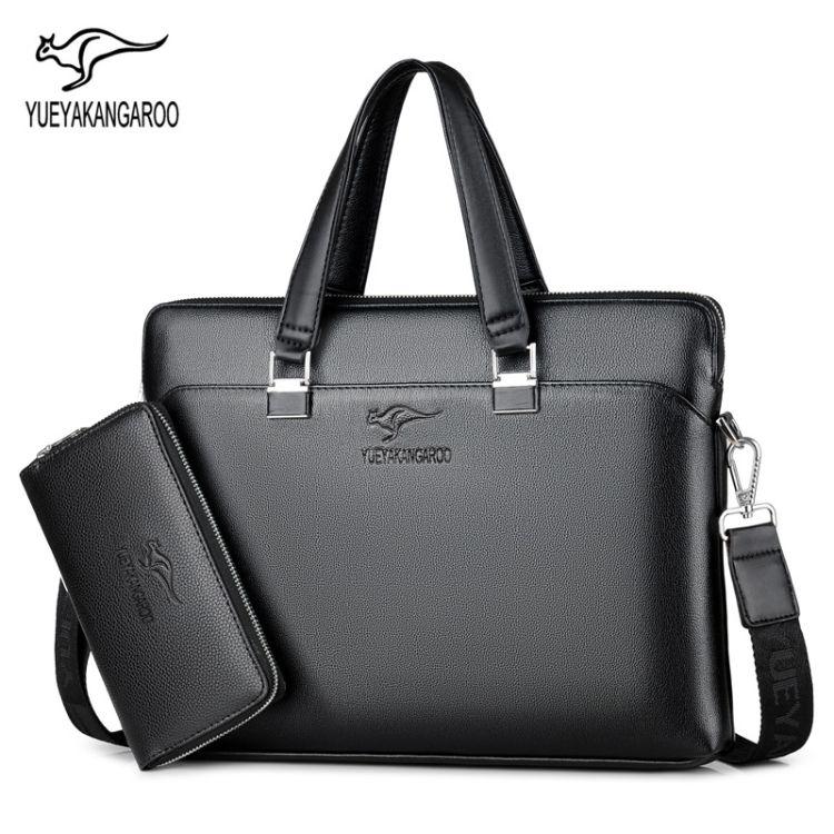 跨境袋鼠男包男士手提包大容量休闲商务公文包横款单肩斜跨