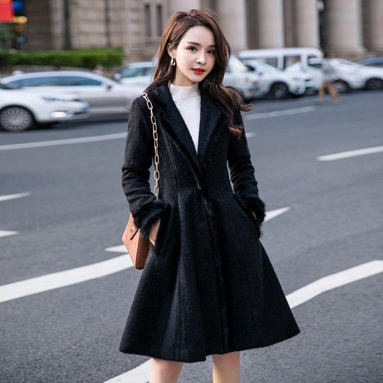 一件代发2018冬季新品加肥加大码女装chic贵妃绒显瘦大衣胖MM外款