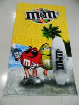 供应割绒活性印刷沙滩巾