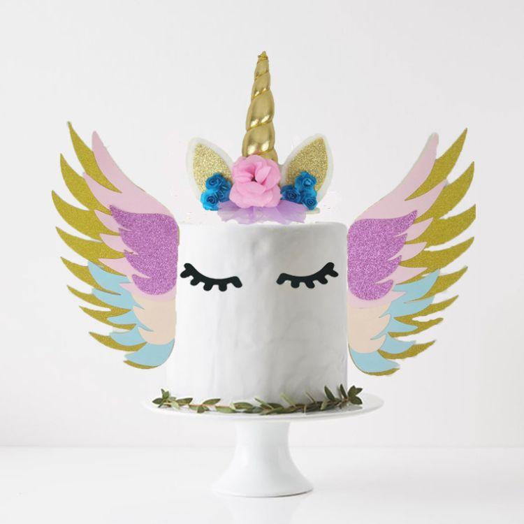 金色4层翅膀蛋糕插牌  独角兽主题派对摆件