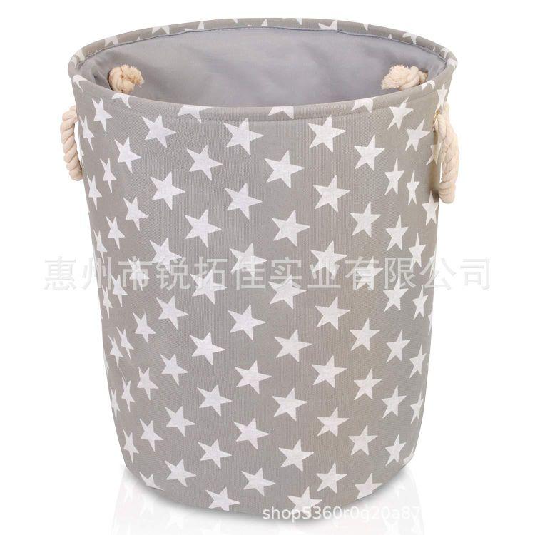 INS爆款手提圆形脏衣篮收纳筐杂物储物桶布艺儿童衣物玩具收纳桶