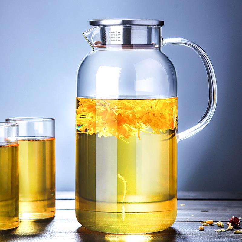 批发大容量家用耐热玻璃壶 开水杯 耐高温凉水壶套装 高硼硅冷水壶