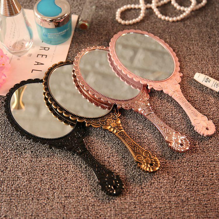 复古创意便携随身花边镜手拿手持镜花纹手柄化妆镜化妆镜子