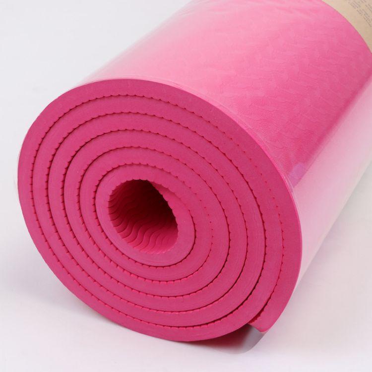 环保单色瑜伽垫TPE加厚8mm 加工定制瑜伽馆用品183*61可印LOGO