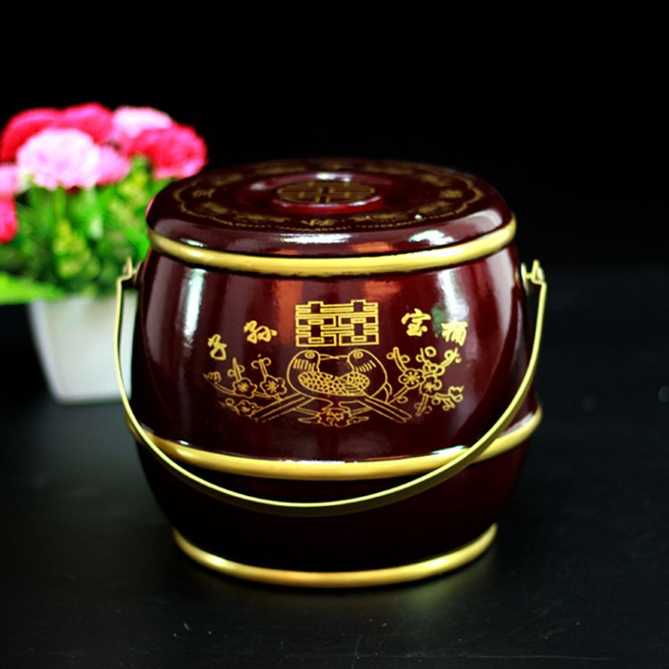 结婚新娘陪嫁子孙桶宝桶单桶摆件棕色实木单桶【18*17.5cm】