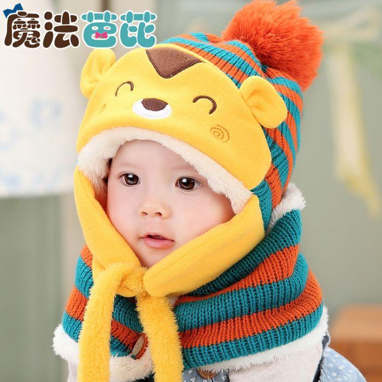 2017秋冬款宝宝婴儿小松鼠针织帽子 冬季儿童护耳毛线帽+围脖