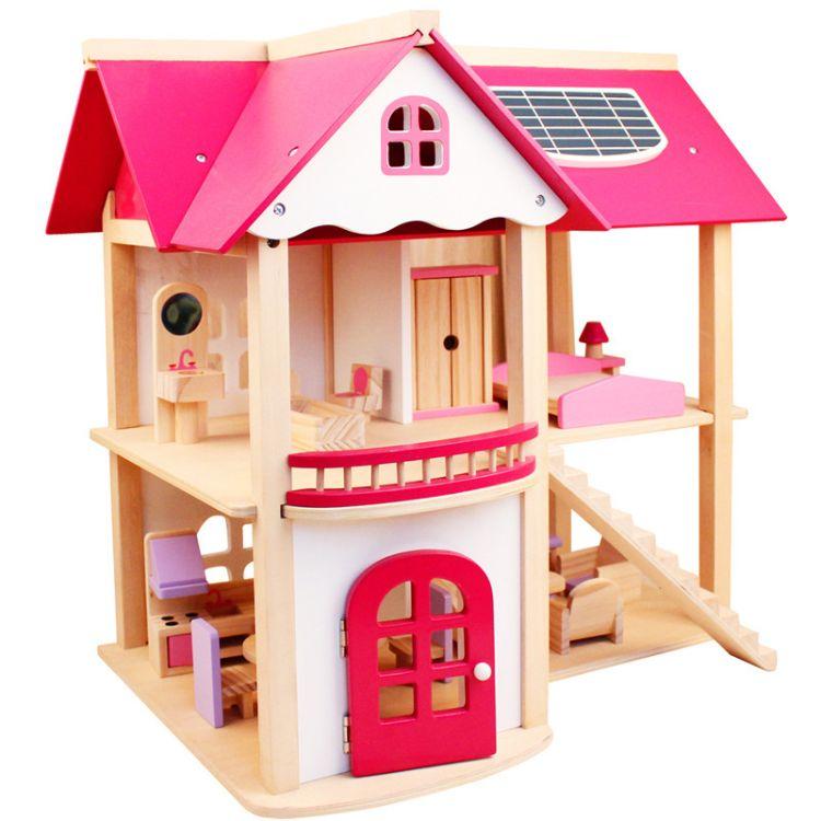 木制大型拼装DIY仿真粉色别墅房子 女孩过家家粉色娃娃房玩具批发