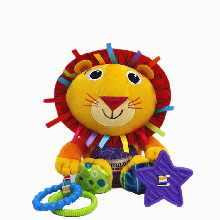 拉玛泽狮子多功能摇铃玩具牙胶响纸车挂