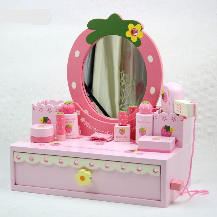 出口木制仿真化妆台儿童玩具 女孩梳妆台套装礼物 首饰收纳台