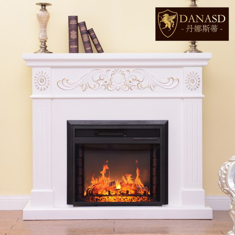 1.2米欧式观赏假火壁炉 实木美式白色壁炉架装饰柜 仿真火焰取暖