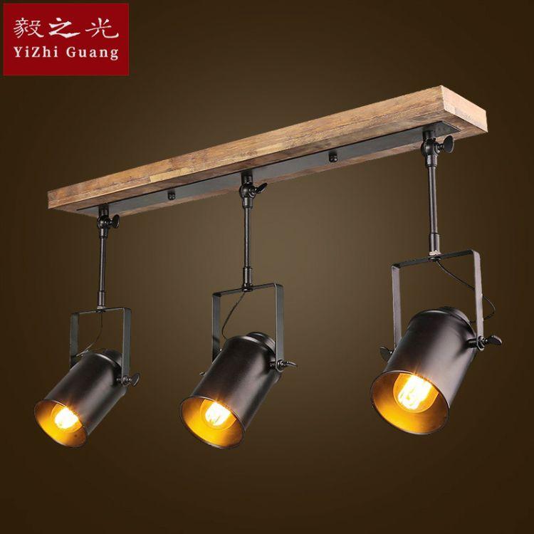 led实木底座服装店复古工业射灯 3头吸顶前台咖啡厅玄关长杆射灯