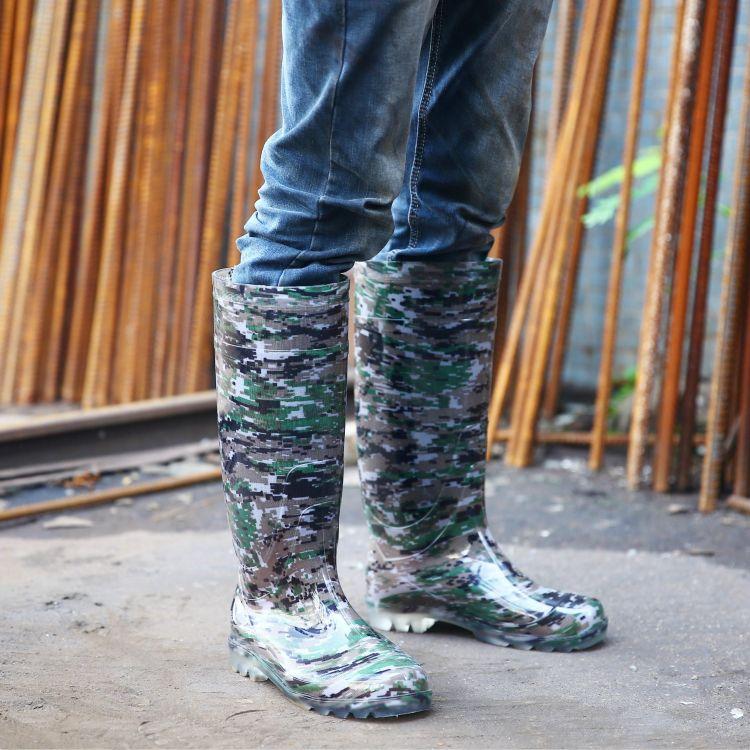 男式高筒迷彩雨鞋保暖水鞋防滑耐磨胶鞋工地劳保雨靴厂家厂价批发