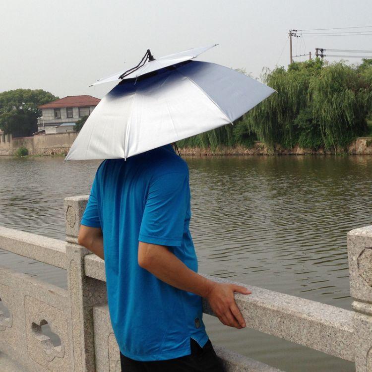 厂家现货双层帽伞7骨加厚牛津布防晒防紫外线50公分头戴钓鱼伞帽