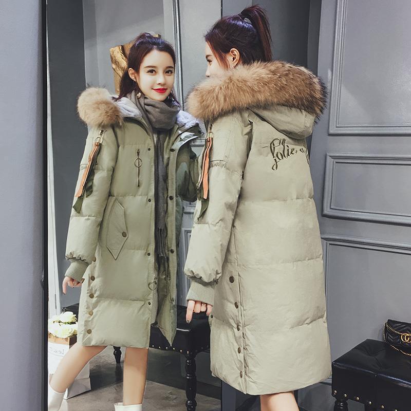 羽绒棉袄女2019新款品牌折扣女装冬装棉衣服女中长款大毛领加厚外套面包服女潮