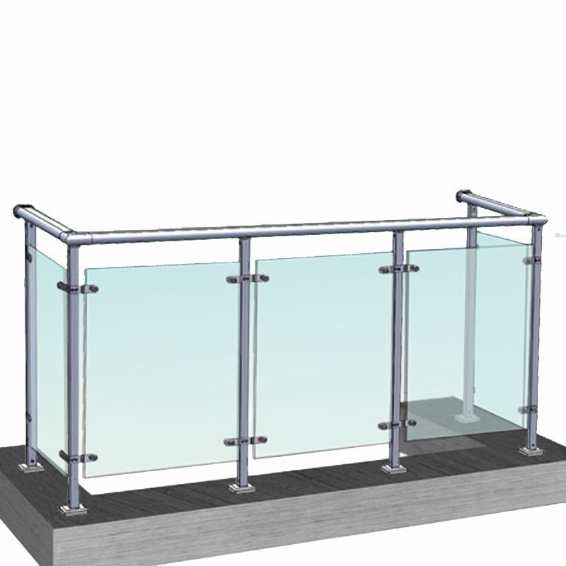 工厂直销隆崛护栏玻璃阳台护栏别墅小区透明防护栏杆锌钢金属护栏