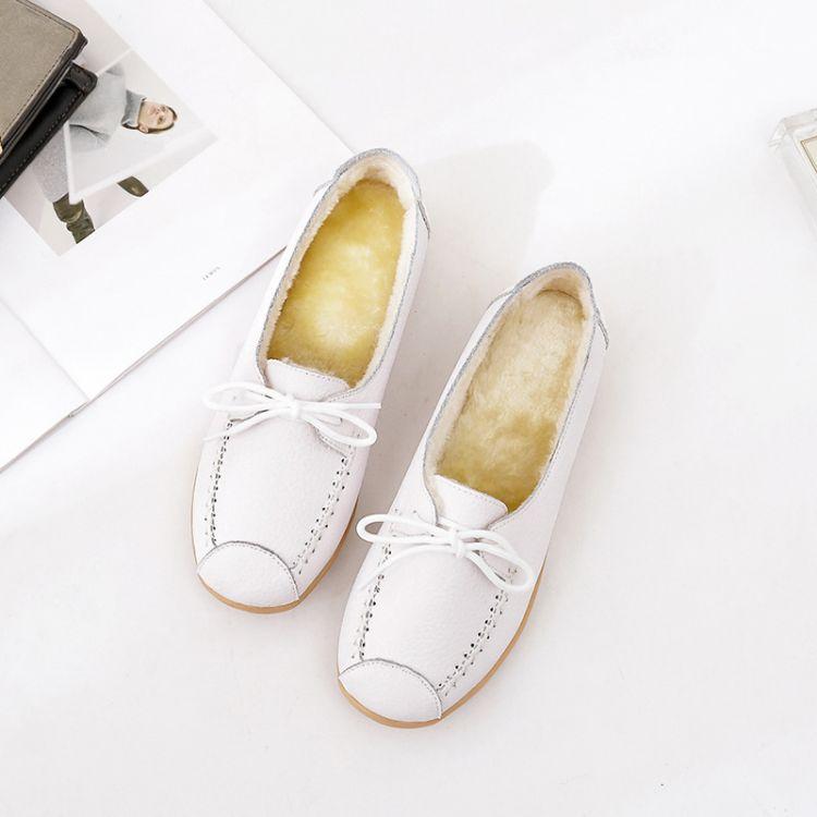 2018新款加绒平底鞋保暖加厚护士鞋妈妈鞋短绒毛真皮休闲时尚单鞋