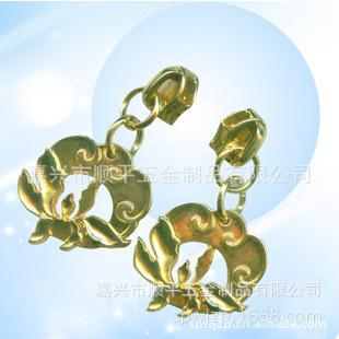 8#5#拉链头 金属拉头 吊镀金色 浅金色拉链头 行李箱配件 镂空形