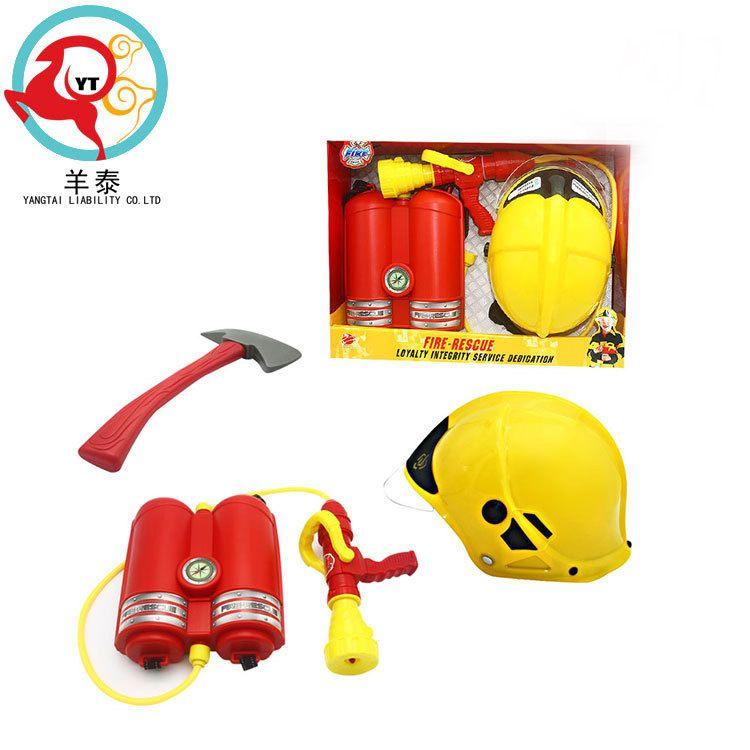 厂家定制批发新款消防帽背包水枪套装  儿童戏水玩具 配斧头
