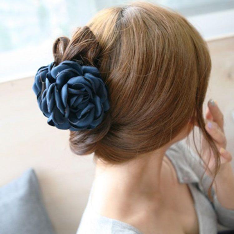 韩国发饰头饰品 布艺玫瑰花朵韩版 盘发大号发抓抓夹