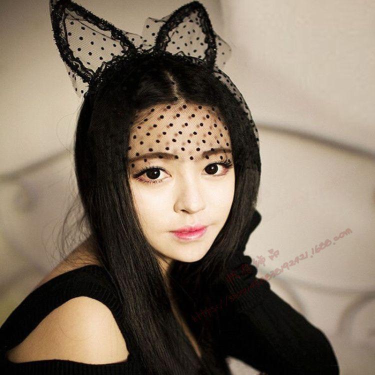性感蕾丝面纱猫兔耳朵发箍头饰舞台面纱发饰聚会派对发饰发箍批发