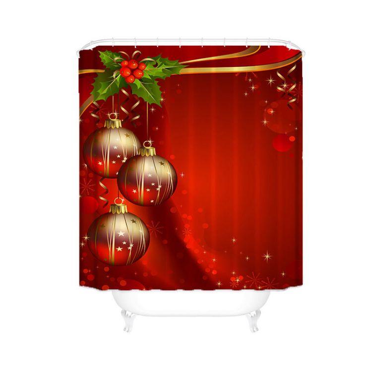 亚马逊ebay 圣诞灯笼浴帘定制 涤纶浴室窗帘 卫生间防水挂帘隔断