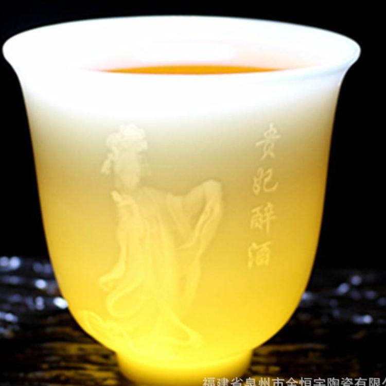 陶瓷茶具厂家直销自生釉德化高白瓷茶杯 广告促销古典四美人水杯