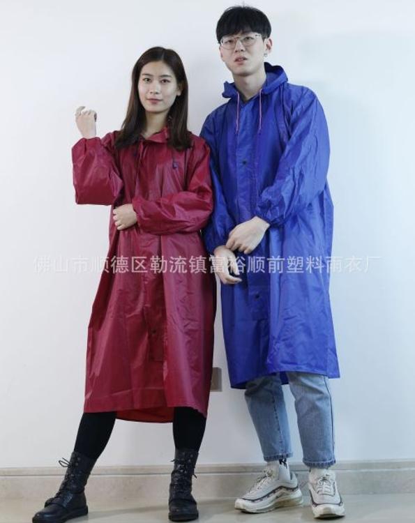 厂家直销批发加厚 男女通用 泼水连体有袖 强防水成人雨披