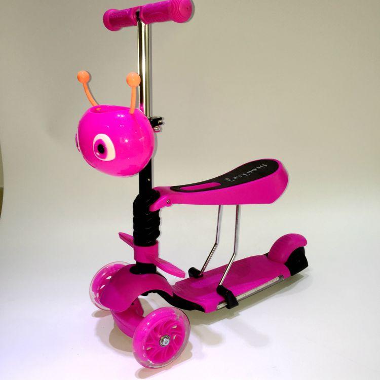 三合一滑板车 三轮闪光儿童滑行踏板车 宝宝童车音乐灯光带踏板