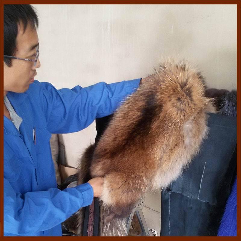 订货生产 毛皮毛领 纯色单色 毛领白貉子 巧克力色 貉子毛毛领
