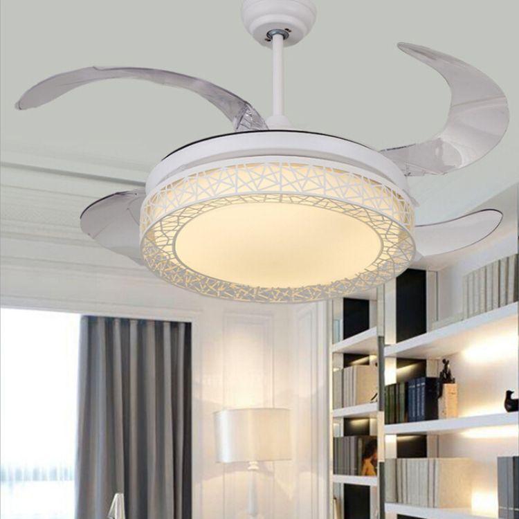 鸟巢隐形LED风扇灯吊灯节能简约餐厅卧室饭厅吊扇灯具