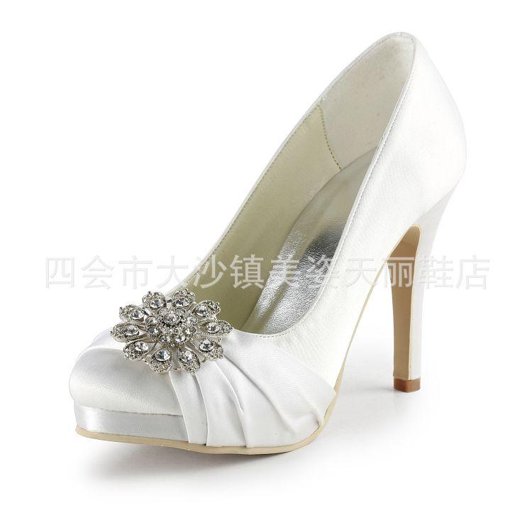 婚鞋 新娘鞋 白色女单鞋 高档女单鞋 粉色水晶婚鞋 一件代发