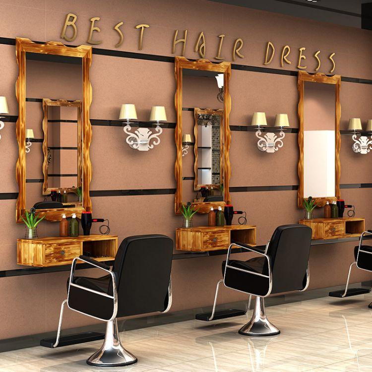 复古实木理发店镜子壁挂镜台简约时尚化妆台单面发廊镜框厂家批发